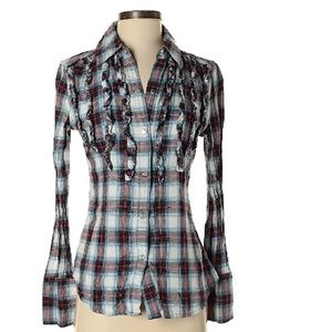 Western style button down with frill detail